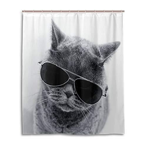 CLSNMSNHEBG Cortina de ducha con ganchos, 152,2 x 182,8 cm, diseño de gato gris con gafas de sol para decoración del hogar, poliéster impermeable para baño