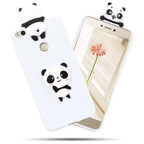 SpiritSun Funda para Huawei P8 Lite 2017 Carcasa Silicona Funda en 3D Ultra Delgado y Ligero Goma Flexible Cover Gel TPU Tapa Caja SuaveProtectora Case Anti Golpes Anti-arañazos - Panda Bianca