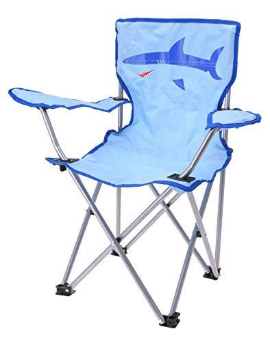 Meinposten. Campingstuhl für Kinder Klappstuhl Gartenstuhl Kind Klappsessel Kinderklappstuhl (Hai, blau)
