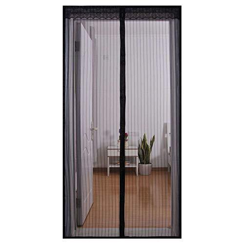 Magnet Fliegengitter Tür, Magnetische Soft Screen Tür Stummschalten TürVorhang Insektenschutz für Balkone, Terrassen, Innen- und Außentüren-90x220Cm(35x87Zoll)-Schwarz