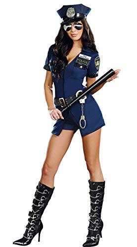 HTABY La Cremallera del Traje del Traje De Mujer Policía Policía del Traje Azul De Halloween Sexy Mujer Policía Cosplay Erótico Body V Profundo Delantero Un Tamaño