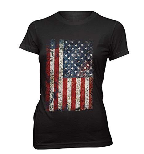 Monkey Print T-Shirt Femmes USA Drapeau Vintage Grunge Look - Noir, XL