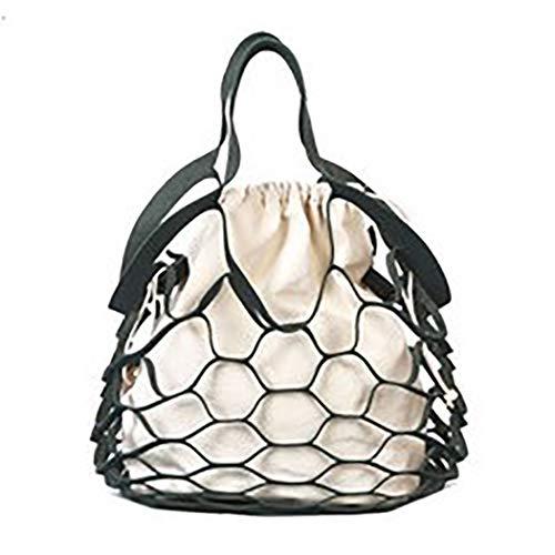 Bageek Damen Einkaufstasche Mode Hohle Netz Schulter Geldbörse Top Griff Tasche mit Innenbeutel