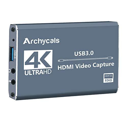 Archycals Game Capture Card 4K HDMI a USB 3.0 Game Capture Card HD 1080P Video Capture Card for Live Streaming/Grabación de vídeo/Enseñanza en línea/Medicamente/Conferencia en vivo.