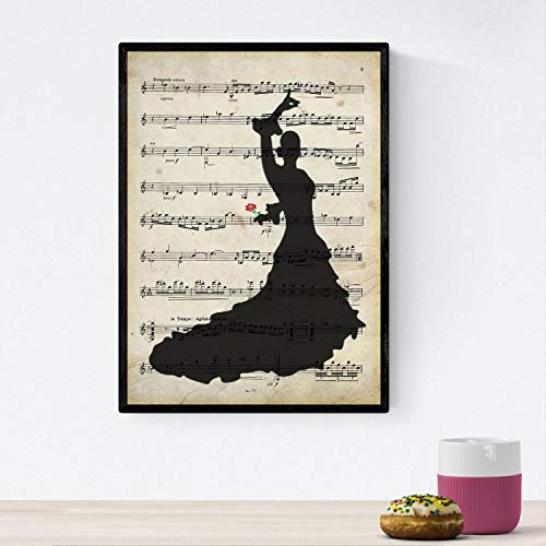Nacnic Poster de Flamenca sobre partitura. Láminas de imágenes con partituras. Diseño de música para el hogar. Tamaño A4