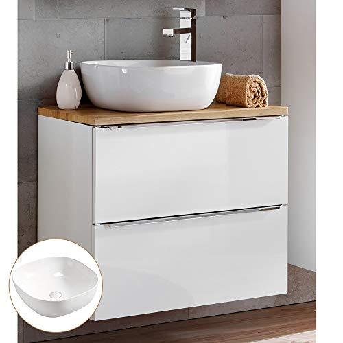 Lomadox Badmöbel Waschtisch-Unterschrank Set 61cm, Hochglanz weiß mit Eiche, 41cm Keramik-Waschbecken, 2 Softclose-Schubkästen, B/H/T 61/74,5/46 cm
