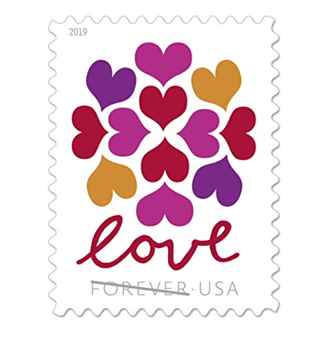 Hearts Blossom Love US Forever Stamps Wedding, Celebration, Graduation (5 Sheets, 100 Stamps)