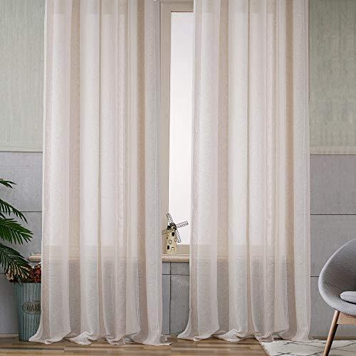 Viste tu hogar Pack 2 de Cortina Decorativa con Hilo de Cáñamo Semi Translúcida, Moderna y Elegante, para Salón o Dormitorio, 2 Piezas, 150X260 CM, Diseño de Rayas en Color Beige.