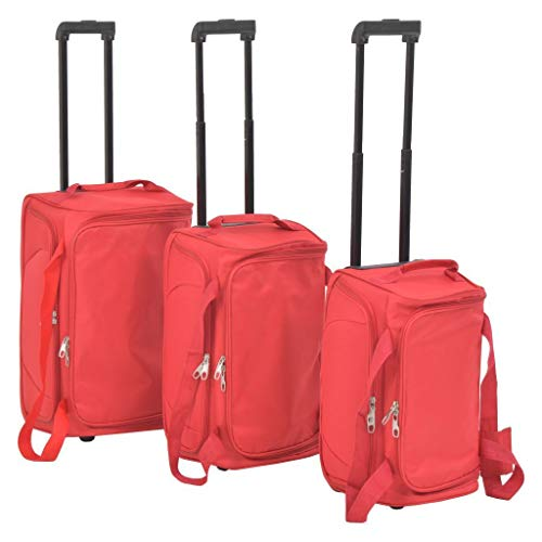 3-Piece Soft Trolley Trolley with 2 Wheels, Hand Luggage Travel Bag Red red