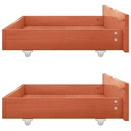 Cajón de almacenamiento de madera debajo de la cama con 4 ruedas para dormitorio, organizador de almacenamiento debajo de la cama de madera, recomendado para cama de plataforma tamaño (Honey Brown)