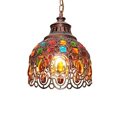 ZZXX Lámpara Colgante marroquí de Bohemia,araña de Cristal Multicolor turca Tiffany Pantalla...