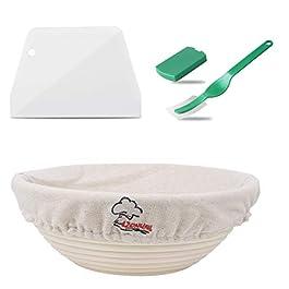 Lzonunl Corbeille de fermentation ronde 10″ avec insert en lin, panier d'épreuvage, tube à pédale, bol à pain en forme de corbeille à pain en rotin fait main, spatule à pain en forme de pains, base