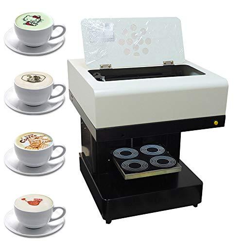 GJZhuan Impresora De 4 Tazas De Café, Impresora De Tartas, Impresora De Arte De Café con Leche, Impresora De Tinta Comestible Totalmente Automática para Tartas con Leche (Blanco)(Size:110v)