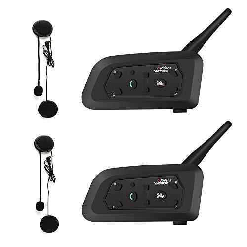 EJEAS V6 Pro 1200M Bluetooth Casque de Moto Interphone, étanche IP65 Intercom Moto Headset Kit Main Libre Connecter Jusqu'à 6 Riders Communication Système pour...
