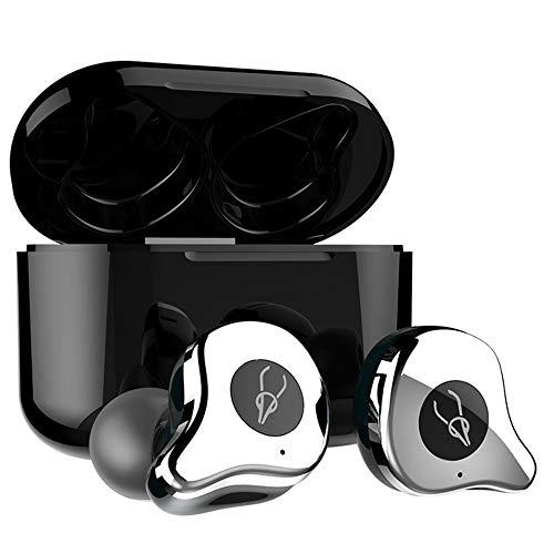 Hellodigi E12 bluetooth 5.0 イヤホン 防水イヤホン 完全 ワイヤレスイヤホン ブルートゥース スポーツ カナル型 ipx5生活防水 高音質 左右分離型 ワイヤレス充電可能 android iPhone に対応 マイクつき シルバ