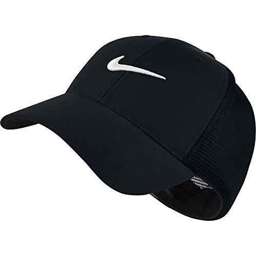 NIKE Unisex Legacy 91 Tour Mesh Hat, Black/Black/White, Small/Medium
