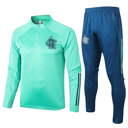 BVNGH Traje de Entrenamiento de Camiseta de fútbol Flamenco, 2021 Nueva Temporada de Manga Larga de fútbol de fútbol Jersey Sportswear Chaqueta, cómoda y Transpirable (S-X Green-M
