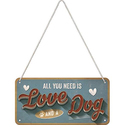 Nostalgic-Art Cartel Colgante Retro Love Dog – Idea de Regalo para los dueños de Perros, metálico, Diseño Vintage para decoración, 10 x 20 cm
