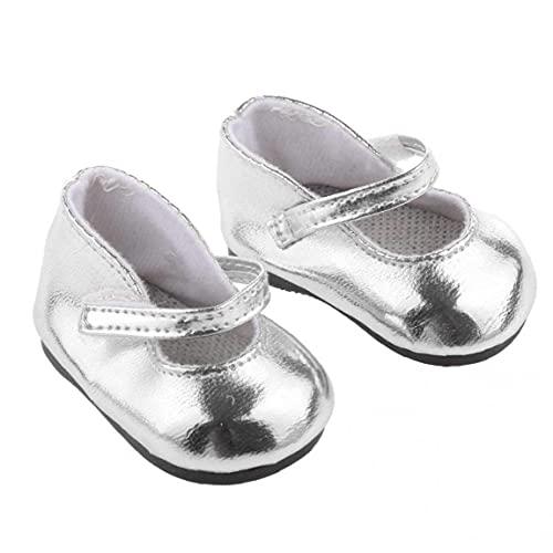 cdzhouji Una Taza De Cepillo De Dientes 1 Par De Zapatos De Muñeca De Plata Metálica Brillante Miniatura Que Se Adapta a 18 En La Muñeca De La Niña Adorable