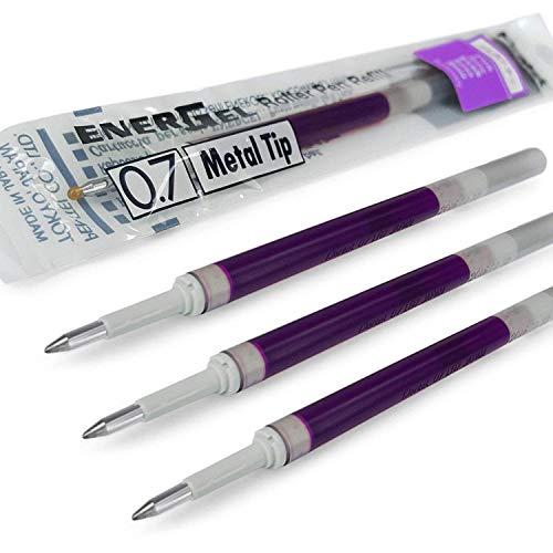 Pentel Energel Lot de 4 recharges pour stylo à pointe métallique 0,7mm LR7–Compatible avec les stylos Energel Xm, BL77/BL57/BL37–Violet