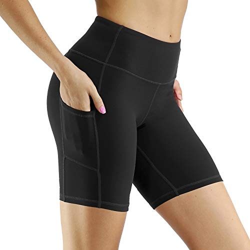 R RUNVEL Running Shorts Womens Exercise Shorts with Phone Pockets Sports Women Workout Jogging Gym Cycling Biker Walking Yoga Training Fitness Summer Tights Shorts Pockets Women Black Size 12