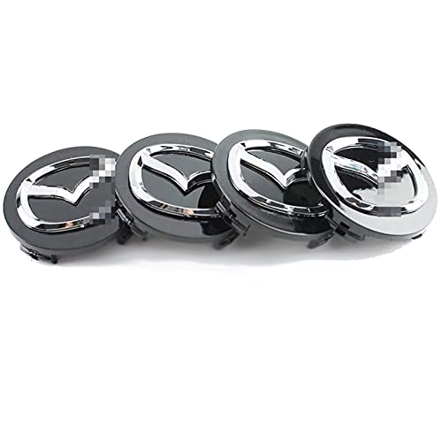 4 Piezas Etiqueta Engomada Insignia Emblema 3D Casquillos Centrales Rueda Para Mazda, Cubierta Central Pegatinas Tapacubos Protector Prueba Agua Accesorios Diseño Coche, 56MM