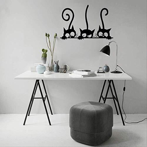 Muursticker katten-kleine cijfer-kinderkamer-uitgangswand-sticker, creatief karikatuur-zwart, de decoratieve wandsticker gesneden