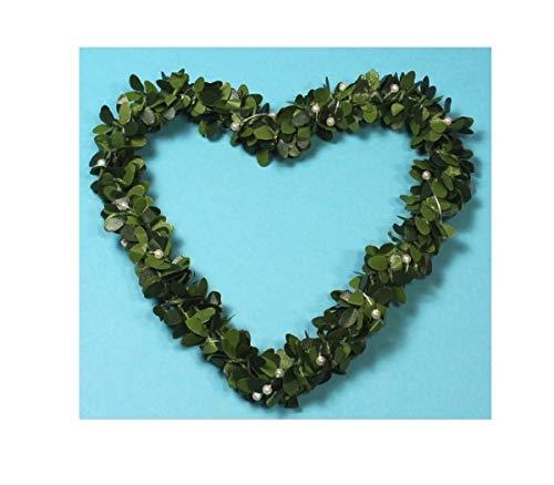 wertheim-deko 2 Herzen aus Buchsbaum mit Perlen Buchsbaumherz Buchsherz Tischdeko 13 cm