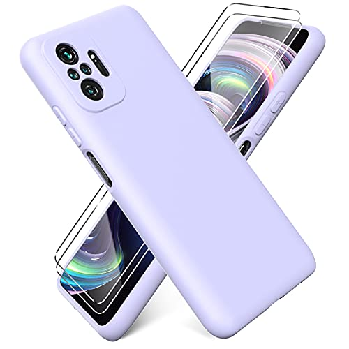 Ikziwreo - Funda para Xiaomi Redmi Note 10 Pro + [2 Pack] Protector Pantalla, Carcasa de Silicona Líquida Gel Ultra Suave Funda con tapete de Microfibra Anti-Rasguño - Púrpura