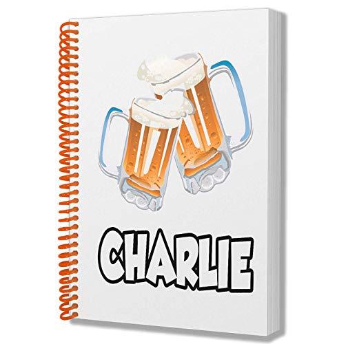 Cuaderno de notas con diseño de cerveza de cristal, tamaño A5, para cumpleaños, Navidad, calcetín de Navidad, amigo invisible, para añadir cualquier nombre