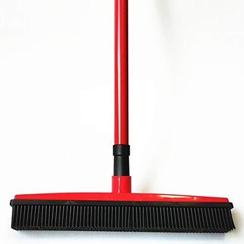 Ouumeis Empuje Escoba con Suave cerdas rasqueta limpiacristales de Goma Borde Uso para Mascota Gato Perro Pelo Limpieza de alfombras de Vinilo de Madera, Rubber Broom,Rojo