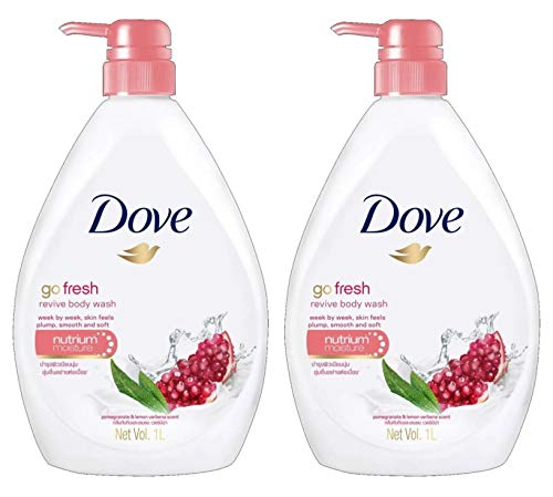Dove Go Fresh Revive Body Wash Pump, Pomegranate & Lemon Verbena - 2 Pack x 34 Fl Oz / 1L Ea
