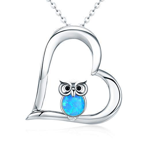 Collar con colgante de búho, collar de corazón de plata de ley 925, joyería para mujeres y niñas, cadena para mujeres de 45,7 cm, regalos para mujeres, caja de regalo de búho 3)