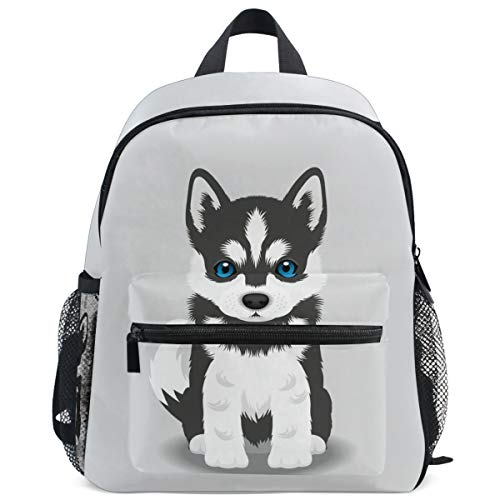 Siberian Husky Puppy Dog Backpack for Kids Girls Boys Funny Animal Bookbag Daypack with Chest Strap Mini Elementary School Bags Water Resistant Durable for School Student