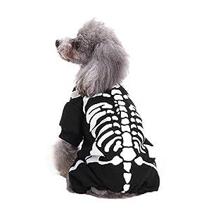 Kolylong ? Halloween Costume vêtements pour chien Puppy Dog Tee Shirts chemise Polaires Vêtements chemisier Halloween Cosplay Déguisement Mignon avec des motifs de squelette