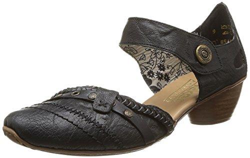 Rieker Damen Riemchensandale 43702,Frauen Sandale,Riemchen-Sandalette,Sommerschuh,Sommersandale,bequem,Trichterabsatz 4cm,schwarz/schwarz / 01,EU 39