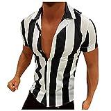 YSYOkow Camisas de manga corta para hombre de algodón de lino con botones y camisa de rayas