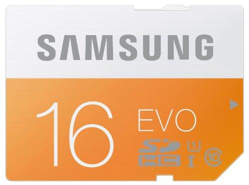 Samsung Speicherkarte SDHC 16GB GB EVO UHS-I Grade 1 Class 10 für Foto und Video Kameras (bis zu 48MB/s Transfergeschwindigkeit)