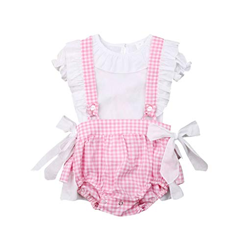 Fantastic Deal! Baby Outfits Ikevan Infant Baby Girls Short Sleeve Solid T-shirt Tops+Plaids Shorts ...