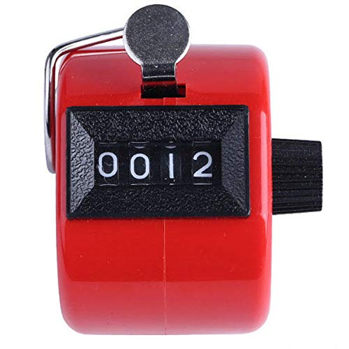 Zay Luay Home palmare 4 Digital Tally Mechanical Manuale Palm Clicker Clicker Number Number Count Assort Color Tally Stitch Counter (Color : Red)