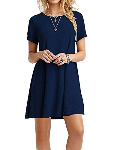 Viishow Women's Casual Plain Short Sleeve Simple T-Shirt Loose Dress Navy Blue S