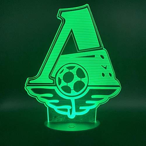 Qaq Starry Sky Rusland, locomotief voetbal, 3D-nachtlampje, kleurrijk licht, kleine tafellamp