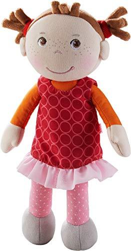 HABA 305041 - Kuschelpuppe Mirka, weiche Stoffpuppe zum Spielen und Kuscheln, erste Puppe aus weichen, waschbaren Materialien, Geschenk zur Geburt oder Taufe, Größe: 25 cm