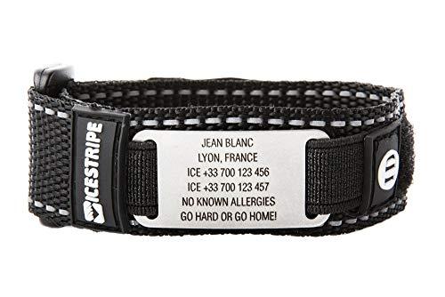 ICEstripe Notfall ID Armband Personalisierte Notfallarmband Benutzerdefinierte Medizinische Alarm Alert für Diabetes mit Edelstahlplatte inkl. Kostenlose Gravur nach Wunsch (Satin Schwarz, 15)