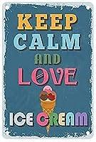 ブリキ メタル プレート サイン 2枚 落ち着いて愛を保つアイスクリームホームバークラブポップホテルガレージ壁の装飾プラークプレートポスターサインホームキッチンハンギングアートワークプラークWallArt装飾ヴィンテージサインギフト8インチX12インチ(20cm X 30cm)
