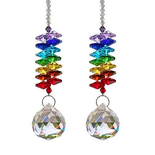 Monland 2 Stuecke Kristall Suncatcher Anhaenger Kronleuchter Kristalle Prismen Regenbogen Chakra Suncatcher Mit Perlen Dekorieren Haengende Verzierung