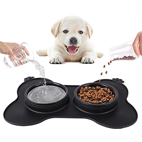 Comedero Gato, Comedero perro Antivoracidad, Perros Bowl para Gatos Tazón Double para Mascotas Comer Lentamente 3-en-1 de Silicona e Acero Inoxidable y una Base de Silicona Antideslizante