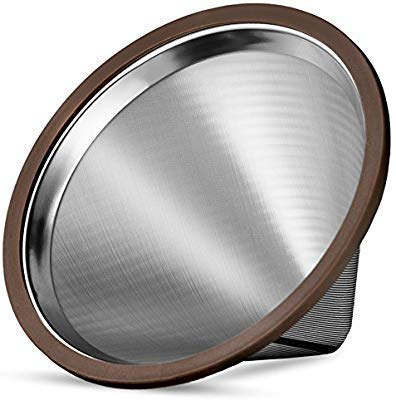 Kavako Stainless Steel Pour Over Coffee Dripper with Double Layered Filter, Paperless and Reusable...