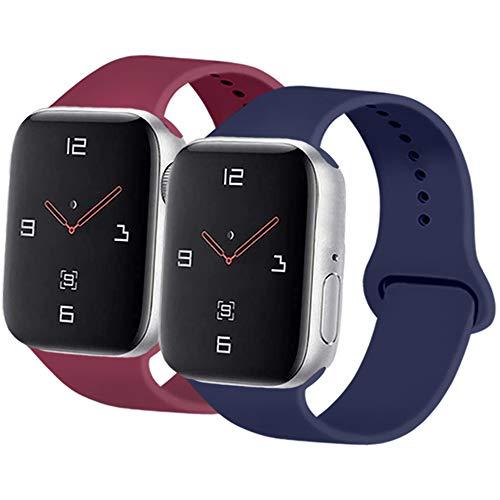 AK Dos Correas para Apple Watch Correa 42mm 38mm 44mm 40mm, Correa Deportiva de Reloj de Repuesto de Silicona Suave para iWatch Serie 3/4/5/1/2 (38/40mm S/M, Azul Oscuro + Rojo Vino)