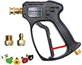 AgiiMan High Pressure Washer Gun - 5000 PSI Car Power Washer Gun kit, 5 Spray Nozzles 1/4'' Quick-Connect M22 Fitting Gas Power Washer